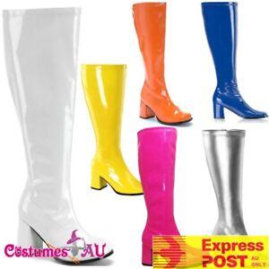 Ladies Go Go Knee High White Gogo Boots Hippie Hippy 60s 70s Disco Costume Shoes