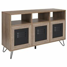 Flash Furniture Woodridge 3 Cubby Console Table in Rustic and Black