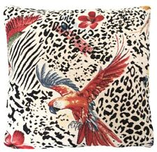 """Parrots Cushion Cover Chenille Fabric Designers White Black Red Yellow 18"""""""