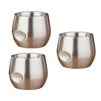 3Pcs 200ml Stainless Insulated Stemless Glass Tumbler for Wine, Drinks