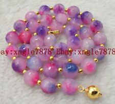 Fashion 10mm Faceted Pink Multicolor Jade Beads Gemstone Necklace 20'' AAA