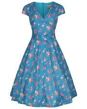 Lindy Bop 'Dawn' Turquoise Rose Print Vintage Garden Party Swing Dress BNWT
