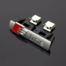 S-line Front Grill Emblem Badge Matt Chrome Metal  For Audi A3 A4 RS4 RS6 TT