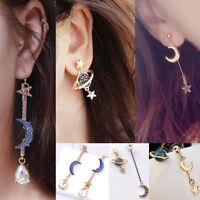 Elegant Moon Star Long Crystal Ear Stud Asymmetric Earrings Women's Jewelry Gift