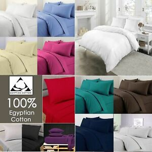 400 TC 100% COTTON 4 PIECE BEDDING SET DUVET COVER WITH FITTED SHEET PILLOW CASE