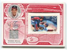 2005 LEAF CENTURY STAMP OLYMPIC RELIC #63 WARREN SPAHN BRAVES 13/92