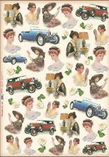 Papier de découpage Femme voiture réto DFG344 Collage Decopatch