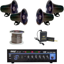 "5"" PA Horn Speakers, Lavalier Mic System, PT210 Mic Mono Amplifier, Speaker Wire"
