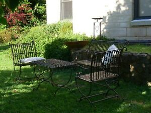 FRENCH or HAMPTONS setting COFFEE TABLE 2 CHAIRS +1 BENCH BLACK solid metal.New