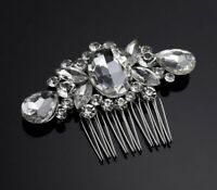 Uk Bridal Prom Silver Crystal Diamanté Hair Pin Clip Comb Slide Fascinator
