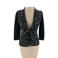 WHBM White House Black Market Cropped Cardigan Sweater Beaded Sequined Small