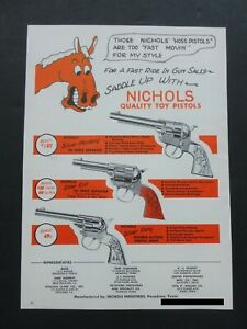 RARE Vtg 1948 DEALER Ad  NICHOLS Silver Mustang Colt Pony Cap Gun Western 1940's