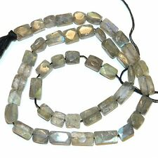 NG2641 Labradorite 9mm - 12mm Flat Faceted Rectangle Spectrolite Gemstone Beads