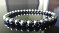 "Genuine Black Hematite Bead Bracelet for Men (On Stretch) 6mm Aaa - 8"" inch"