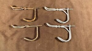 """4 Vintage Antique Twisted Wire Coat Hat Hooks Screw in Style 3"""" Farmhouse Rustic"""