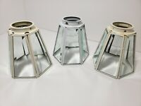 3 White Vintage Stained Clear Beveled Glass Ceiling Light Lamp Shades 6 Panels