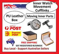 Round Black Wedding Watch Movement Cufflinks Steampunk Vintage Clockwork w/ Box