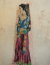1992 EXPRESSIONIST WOMAN PORTRAIT PASTEL PAINTING SIGNED
