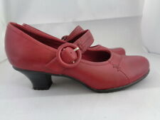 CLARKS RED 100% LEATHER MARY JANE SHOES SIZE UK 5 EU 39