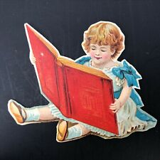1890's Paper Doll Advertising Grocery Peoria ILL Trade Card Little Girl BIg Book