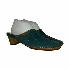 Pikolinos Cut-Out Teal Green Leather Mules Women's 38 7.5-8