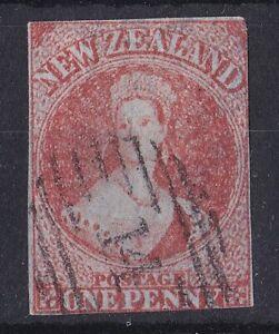 NZ34) New Zealand 1857 1d Dull Orange Imperf Chalon, wmk. Large Star, SG 7. Nice