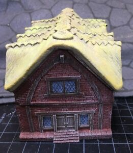 15 mm European Timber Frame Brick Town Hall w/ Thatch Roof Unpainted building