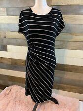 Womens Short Sleeve Dress Size Large. Ruched Side. Black/White Stripe. NWT