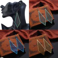 Bohemian Fashion Women Hollow Flower Stainless Steel Ear Hook Dangle Earrings