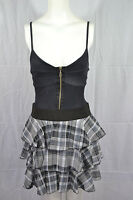 Womens Ladies Cami Strappy Swing Dress With Front Zip Denim Tartan Flared 8-14