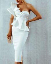 Vestido de fiesta Blanco ceñido al cuerpo Celebridad Mujer Talla M (2 Piezas Vestido)