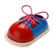 Children Wooden Lacing Shoes Toys Early Education Montessori Toddler Toy Game