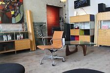 HERMAN MILLER EAMES ALUMINUM GROUP SIDE CHAIRS LUGGAGE MCL LEATHER