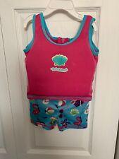 Aqua Leisure ET9046 Girls 1 pc Swim Trainer, Flamingo Print Shorts 20 - 33 Lbs