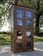Vintage Glazed Solid Indian Wood Storage Cabinet