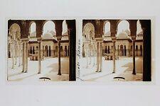 Espagne Grenade Alhambra Plaque de verre Stéréo Stereoview Vintage