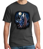 Moon Night Wolf Adult's T-shirt USA American Flag on Wolf Tee for Men - 1668C