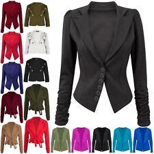 Uk Celeb Women Ladies 6 Buttons Ruched Sleeve Slim Office Collared Blazer Jacket