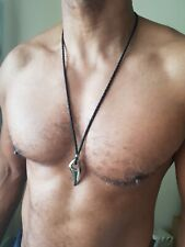 Mens shark tooth,wolfs tooth necklace,silver stainless steel,leather,tribal