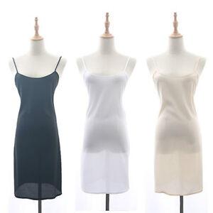 Lady Chiffon Strappy Full Slip Soft Dress Underskirt Petticoat Chemise Nightie