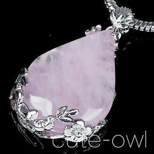 New Women Fashion Pink Crystal Pendant Chain Statement Healing Necklace