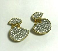 Vintage Givenchy Gold Tone Rhinestone Twist Clip-On Earrings