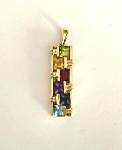 14k Gold Multi Gemstone Pendant w/ Peridot, Citrine, Garnet, Amethyst, Topaz VTG