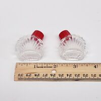 Mini ART DECO Salt and Pepper Shakers Red Lid Clear Glass VINTAGE Kitchen
