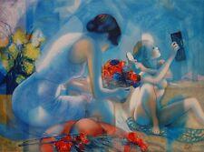 """Jean-Baptiste VALADIE : """"Brise bleue, mère et fille"""" # LITHOGRAPHIE SIGNEE et N°"""