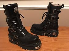 NEW Rock Reactor Goth Biker Neri in Pelle Tacco E Fibbia Stivali Unisex Uk 9 EU 43