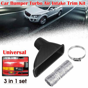 Car Turbo Air Inlet Pipe Funnel Kit Bumper Grille Air Intake Loom Hose w/ Clamp