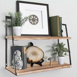 2Tier Floating Shelf Wall Shelving Storage Display Rack for Living Room Bathroom