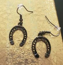 Handmade Dark Bronze Cowboy Horseshoe Drop Style Hook Earrings - Fashion Jewelry