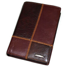 Vintage Leather Wallets For Mens Zippered Pocket Travel Wallet Trifold Purse
